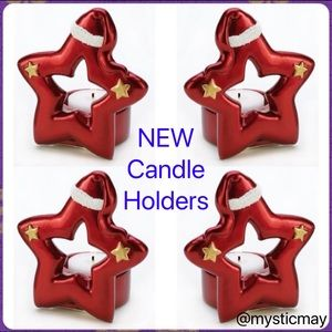 NEW Set of 4 Red Santa Star Ceramic Candle Holders